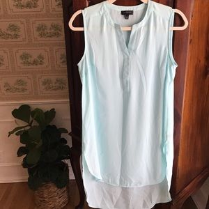 The Limited long fit, lightly sheer baby blue top